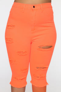 Time To Get Litty HR Distressed Bermuda Shorts - Neon Orange