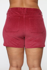 Got Me Exposed Button Corduroy Shorts - Red
