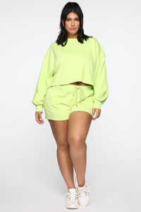Made A Deal Lounge Shorts - Lime Angle 10