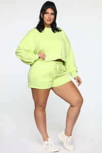Made A Deal Lounge Shorts - Lime Angle 8