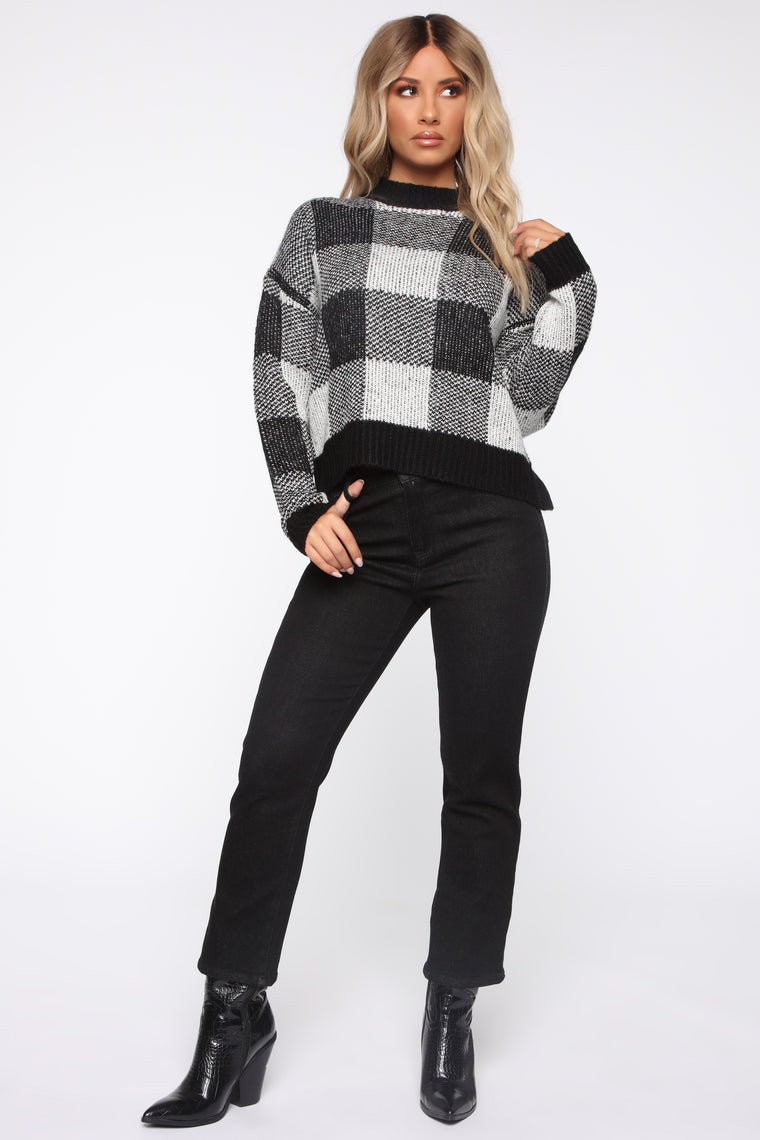 Plaid Around Sweater - White/Black