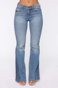 Cheryl Mid Rise Flare Jeans - Medium Blue Wash