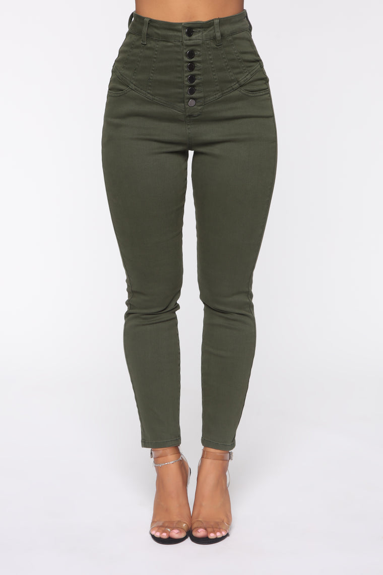 So It Goes High Rise Jeans   Olive by Fashion Nova