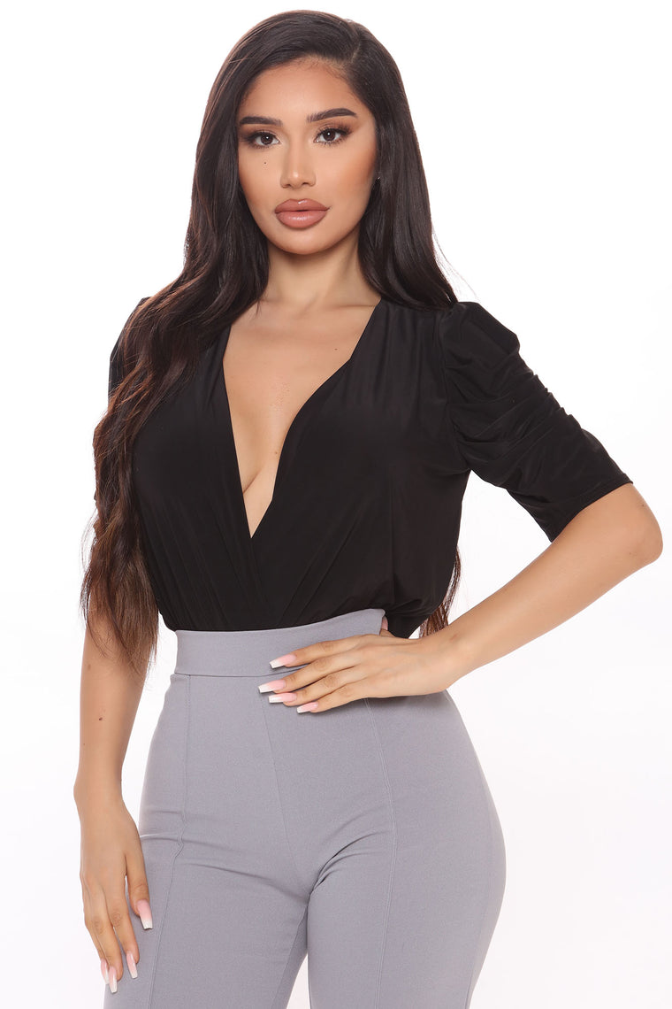 Look The Other Way Puff Sleeve Bodysuit - Black