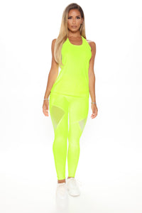 One More Mile Active Mesh Sculpt Tech Legging - Neon Yellow Angle 2
