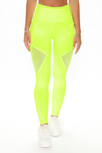One More Mile Active Mesh Sculpt Tech Legging - Neon Yellow Angle 1