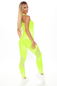 One More Mile Active Mesh Sculpt Tech Legging - Neon Yellow Angle 4