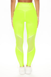One More Mile Active Mesh Sculpt Tech Legging - Neon Yellow Angle 3