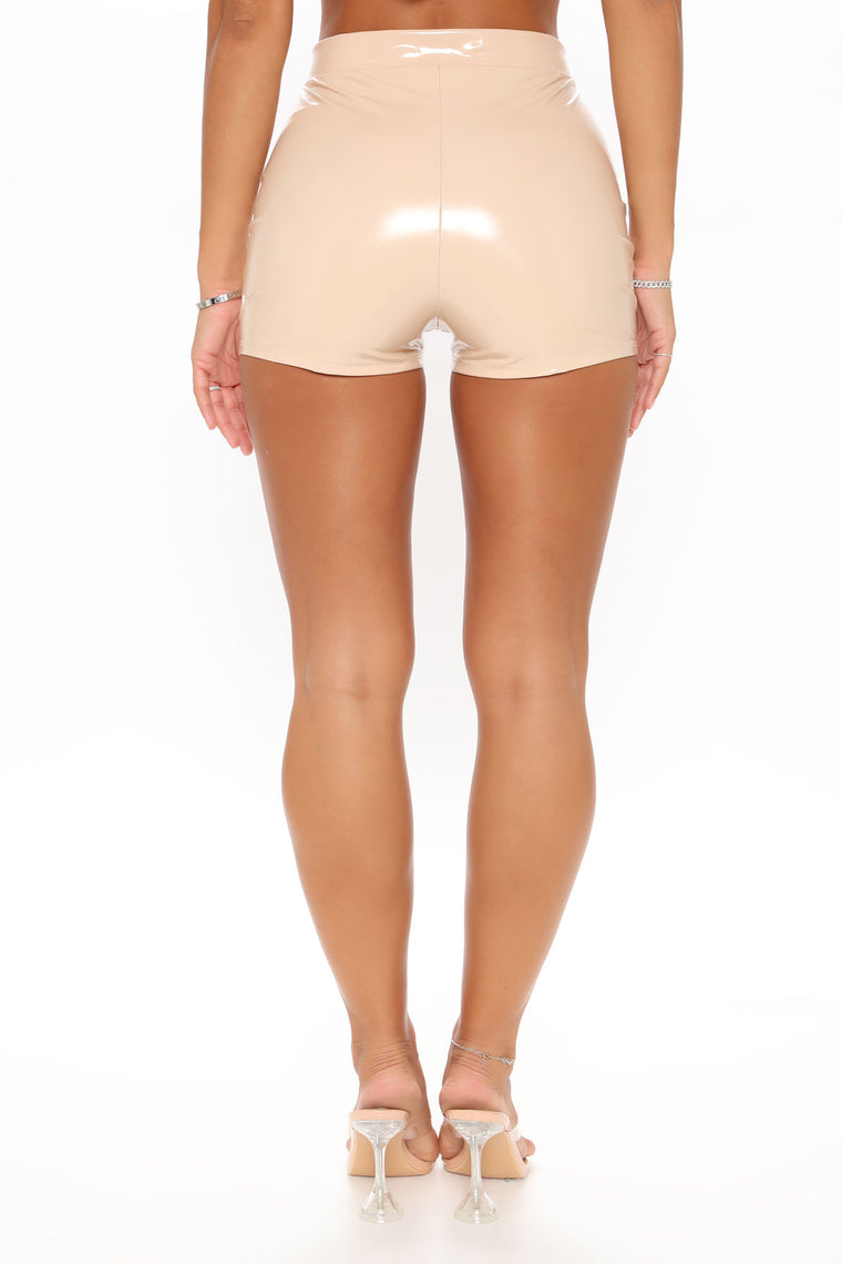 I Want It All Latex Shorts - Nude