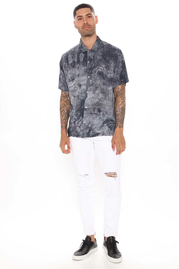 Mike Short Sleeve Woven Top - Black/combo