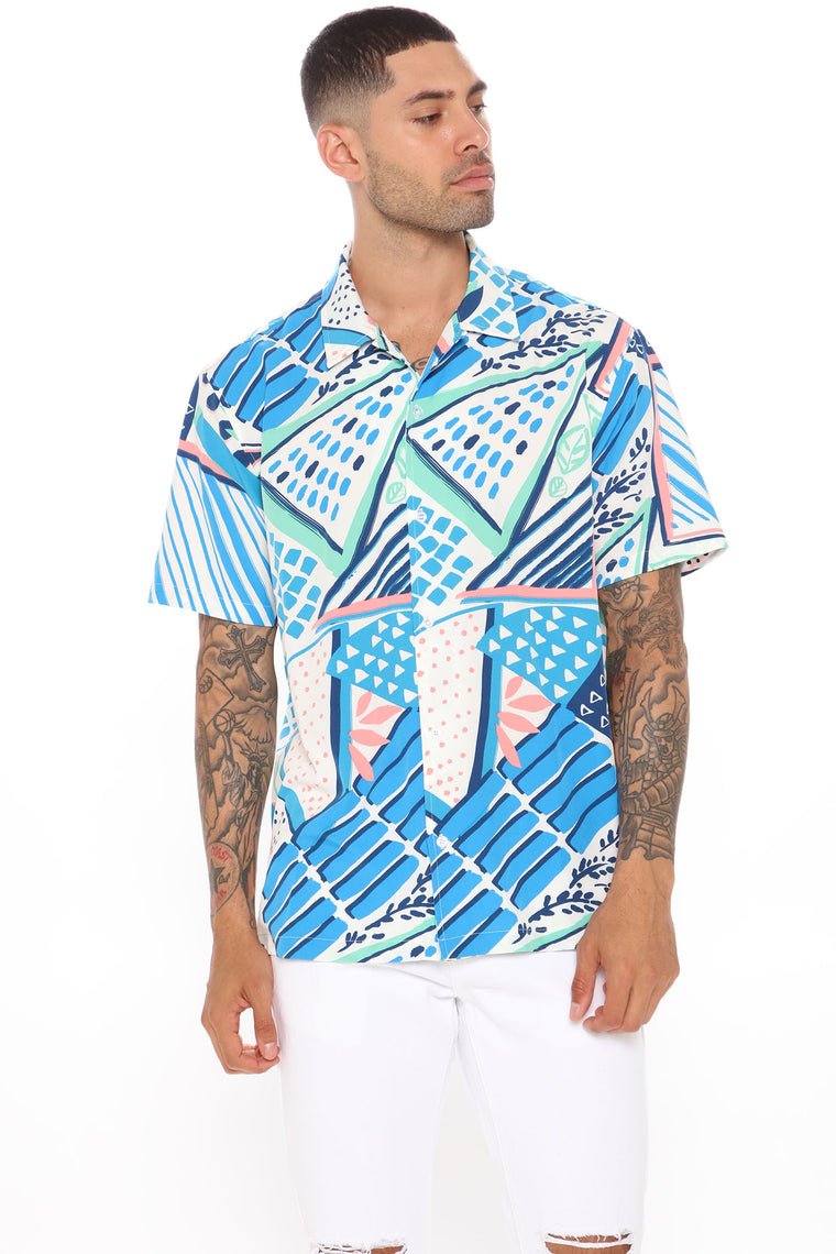 Kyle Short Sleeve Woven Top - Blue/combo