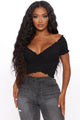 Oh So Sweet Smocked Crop Top - Black
