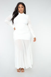 Cardi Party Ruched Dress - White Angle 6