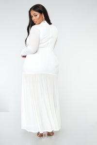 Cardi Party Ruched Dress - White Angle 7