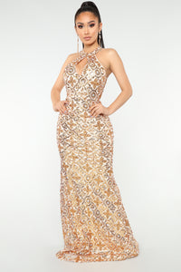 In Sequence Dress - Ivory/Gold