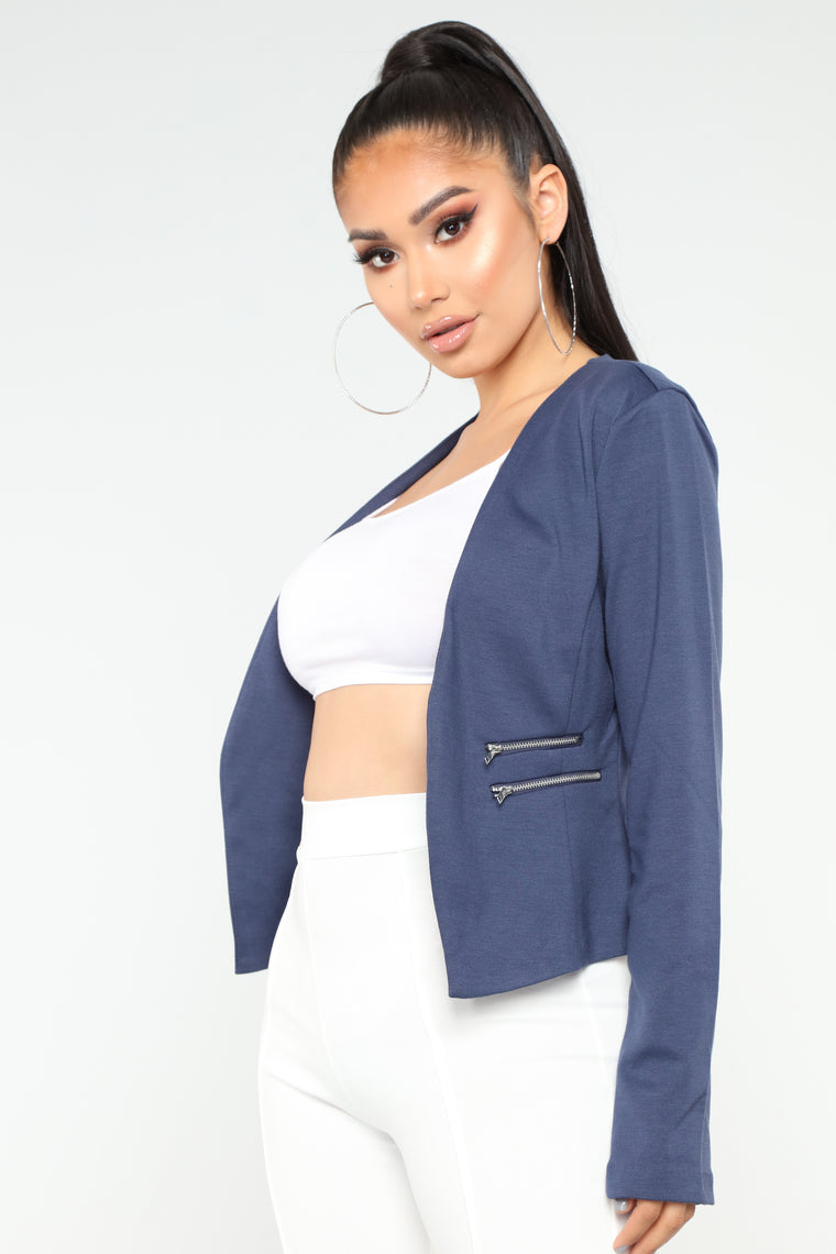 Zipper Trouble Ponte Blazer - Blue