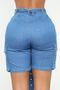 Ease On Up Denim Bermudas - Medium Blue Wash