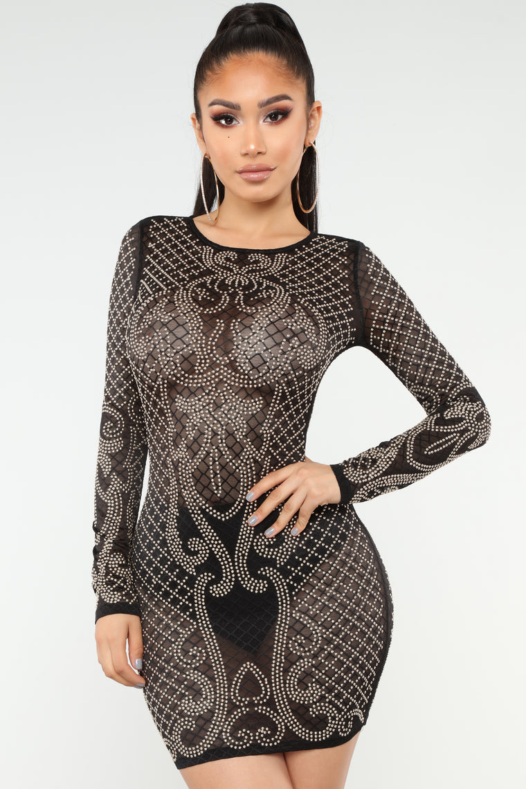 Done Meshing With You Studded Dress - Black