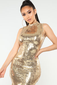 Disco Nights Sequin Dress - Gold