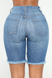 No More Tears Denim Bermudas - Dark Denim