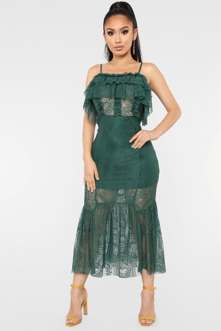 The Game Of Love Lace Dress - Green
