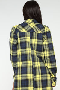 Plaid Obsessed Top - Yellow/combo