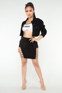 Dree Lace Up Mini Skirt - Black