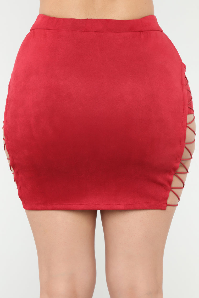 Dree Lace Up Mini Skirt - Red