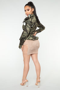 Dree Lace Up Mini Skirt - Taupe