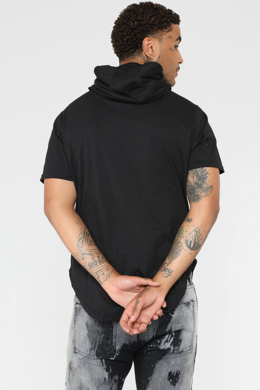Cole Short Sleeve Pull-Over Hoodie - Black