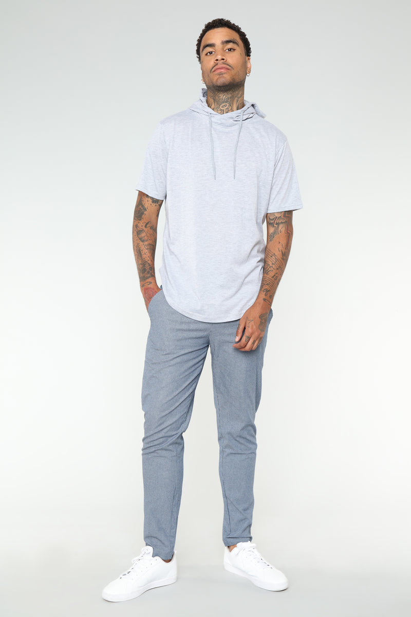 Cole Short Sleeve Pull-Over Hoodie - Grey