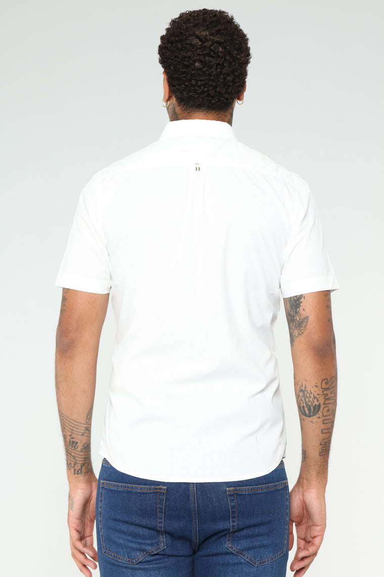 Cali Short Sleeve Woven Top - White