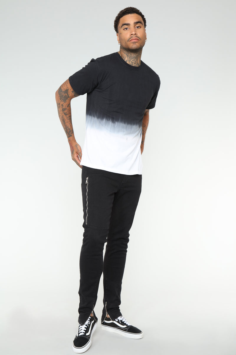 Ombre Short Sleeve Tee - Black/White