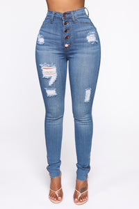 Going Through It Skinny Jeans - Medium Wash