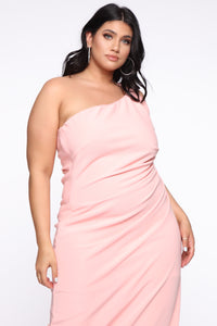 Not Going Home One Shoulder Dress - Pink