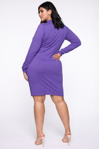 Just One Call Away Mini Dress - Violet Angle 2