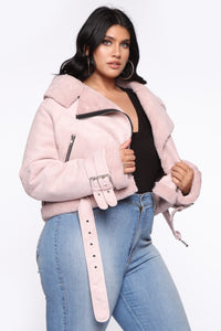 A Little Extra Moto Jacket - Blush