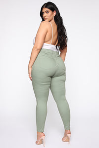 Monday Morning Skinny Pants - Sage Angle 8