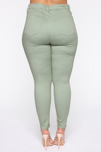 Monday Morning Skinny Pants - Sage Angle 12