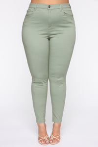 Monday Morning Skinny Pants - Sage Angle 9