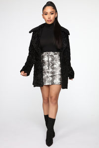 For The Best Faux Fur Jacket - Black
