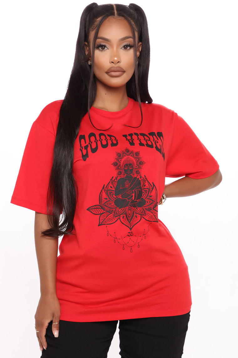 Good Vibes Good Life Top - Red/Black