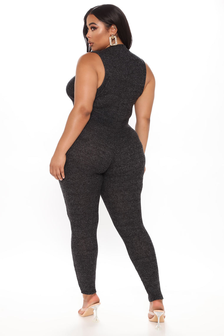 Playing You Ribbed Jumpsuit - Black