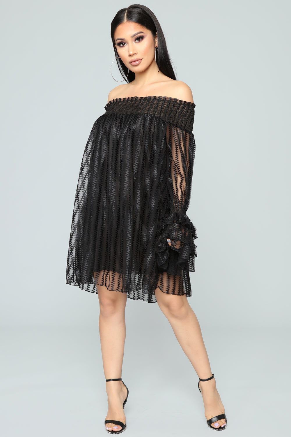 Boogie Nights Off Shoulder Dress - Black