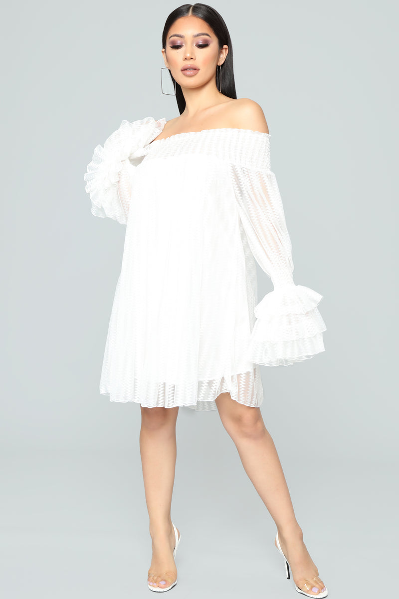 Boogie Nights Off Shoulder Dress - White