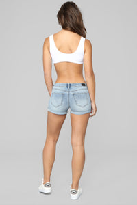 What's My Name Again Mid Rise Shorts - Light Blue Wash