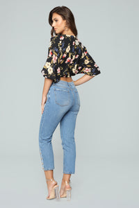 Flirty Floral Surplice Top - Black Combo