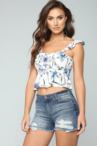 Rising Floral Star Top - White Combo