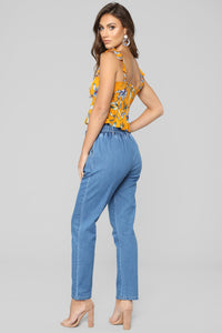Rising Floral Star Top - Mustard Combo