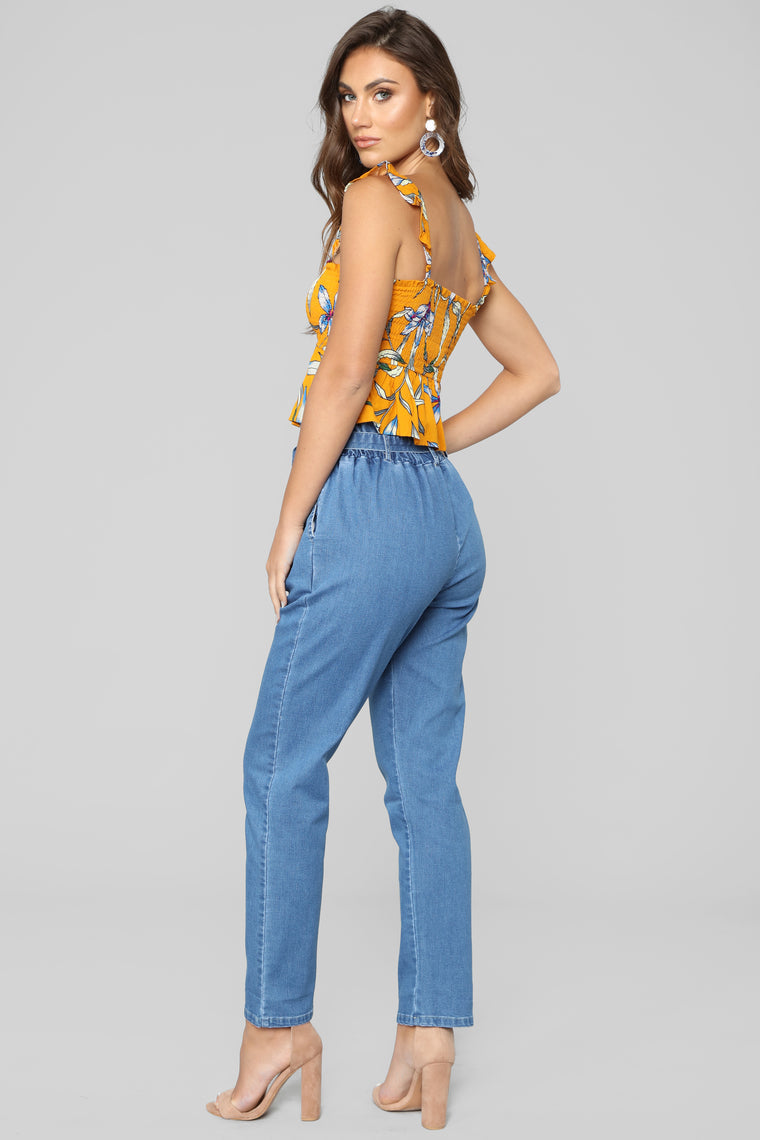 Main Thang Paperbag Waist Jeans - Medium Wash